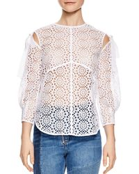Sandro - Ernesta Sheer Lace Top - Lyst