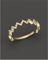 Bloomingdale's - Diamond Zigzag Ring In 14k Yellow Gold, 0.10 Ct. T.w. - Lyst