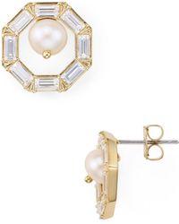 Nadri - Josephine Octagonal Cultured Freshwater Pearl Stud Earrings - Lyst