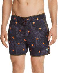 Scotch & Soda - Orange-print Swim Trunks - Lyst