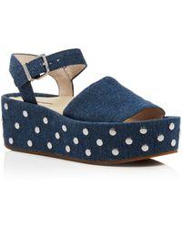 Kenneth Cole - Women's Danton Studded Denim Platform Wedge Sandals - Lyst
