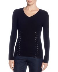 T Tahari - Ribbed Lace-up Sweater - Lyst