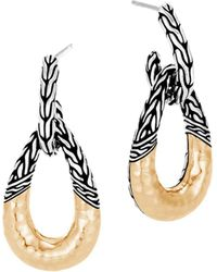 John Hardy - 18k Yellow Gold & Sterling Silver Classic Chain Hammered Hoop Earrings - Lyst