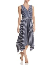 Lafayette 148 New York - Demetria Striped Faux-wrap Midi Dress - Lyst