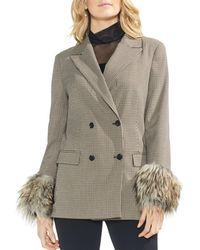 Vince Camuto - Double - Breasted Faux - Fur Cuff Blazer - Lyst