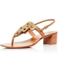 Tory Burch - Women's Thompson Embellished Leather Block Heel Sandals - Lyst