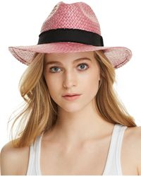 Aqua - Ribbon-trim Straw Fedora - Lyst