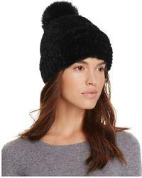 Maximilian - Maximilian Mink Hat With Fox Pom-pom - Lyst