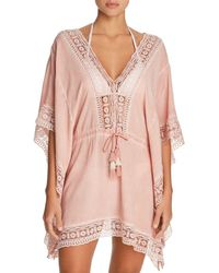 Surf Gypsy - Embroidered-trim Tunic Swim Cover-up - Lyst