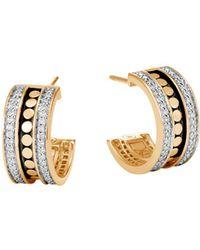 John Hardy - 18k Yellow Gold Dot Diamond Hoop Earrings - Lyst