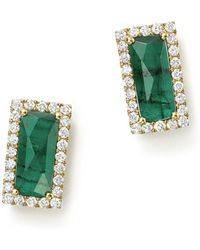 Meira T - 14k Yellow Gold Emerald Rectangle Stud Earrings With Diamonds - Lyst