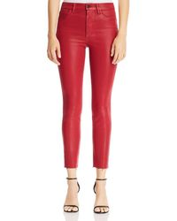 Joe's Jeans - Charlie Coated Ankle Skinny Jeans In Ruby Red - Lyst