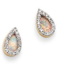 Adina Reyter - 14k Yellow Gold Opal & Diamond Teardrop Stud Earrings - Lyst