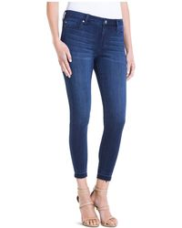 Liverpool Jeans Company - Avery Cropped Released-hem Jeans In Dark Blue - Lyst