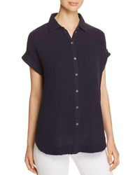 Three Dots - Double Gauze Button-down Top - Lyst