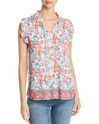 Tolani - Floral-print Ruffled Top - Lyst