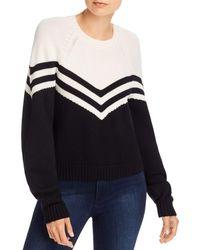MILLY Varsity Chevron Wool Jumper - Black