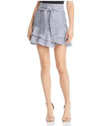 Aqua - Striped Ruffle-hem Skirt - Lyst
