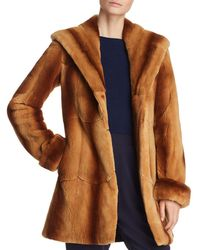 Maximilian - Hooded Plucked Mink Fur Coat - Lyst
