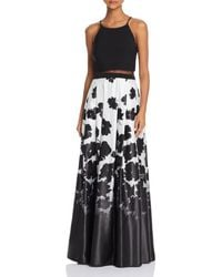 Aqua - Overlay-bodice Printed Gown - Lyst