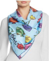 Kinloch - Fun Fish Print Silk Scarf - Lyst