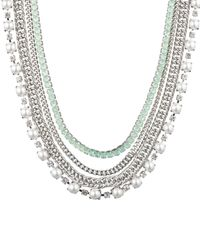 Carolee - Stone & Chain Layered Statement Necklace - Lyst