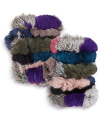 Jocelyn - Knit Rabbit Fur Fingerless Gloves - Lyst