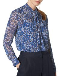 L.K.Bennett - Alisa Tie-neck Blouse Top - Lyst