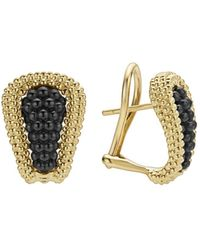 Lagos - Gold & Black Caviar Collection 18k Gold & Ceramic Huggie Earrings - Lyst