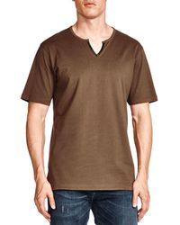 The Kooples - Notched Faux-leather Trim Tee - Lyst