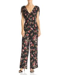 Band Of Gypsies - Ruby Floral-print Tie-detail Jumpsuit - Lyst