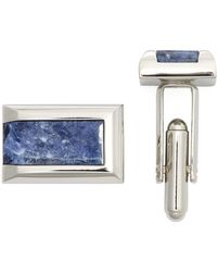 Bloomingdale's - Polished Rhodium Sodalite Rectangle Cufflinks - Lyst