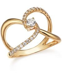 Bloomingdale's - Diamond Crossover Ring In 14k Yellow Gold, .50 Ct. T.w. - Lyst