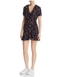 Re:named - Cassandra Floral-print Mini Wrap Dress - Lyst