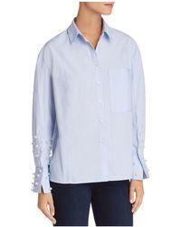Aqua - Embellished Button-front Shirt - Lyst
