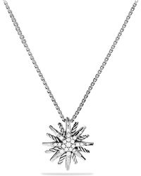 David Yurman - Starburst Small Pendant With Diamonds On Chain - Lyst