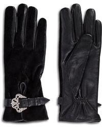 The Kooples - Velvet & Leather Gloves - Lyst