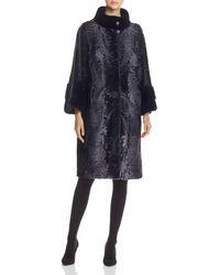 Maximilian - Lamb Shearling Coat With Mink Fur Collar - Lyst