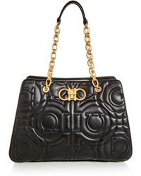 Ferragamo - Large Gancini Quilted Leather Tote - Lyst