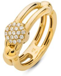 Hulchi Belluni - 18k Yellow Gold Tresore Diamond Single Ring - Lyst