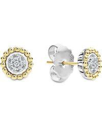 Lagos - 18k Gold And Diamond Caviar Stud Earrings - Lyst
