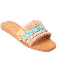 Dolce Vita - Cadiz Embellished Raffia Slide Sandals - Lyst