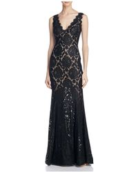 Betsy & Adam - V-back Lace Gown - Lyst