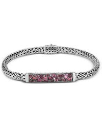 John Hardy - Sterling Silver Classic Chain Extra Small Bracelet With Pink Spinel, Pink Tourmaline & Garnet - Lyst