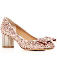 Ferragamo - Women's Capua 55 Glitter Floral Heel Court Shoes - Lyst