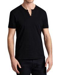 88fd428dec Lyst - John Varvatos Linen S/s V-neck With Cotton Trim in Black for Men