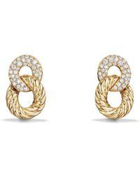 David Yurman - Belmont Extra Small Curb Link Drop Earrings With Diamonds In 18k Gold - Lyst