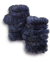 Jocelyn - Knit Rabbit Fur Fingerless Gloves - Lyst