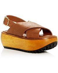 fda14462247 Lyst - Marni Stacked Calf-hair Flatform Sandals in Black