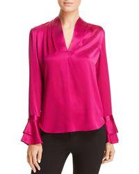 7ae8ef36c26d4 Lyst - Elie Tahari Coretta Silk Blouse in Pink